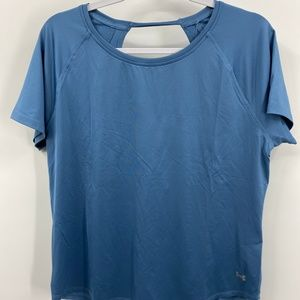 Under Armour Heat Gear Light Blue Open Back Tshirt